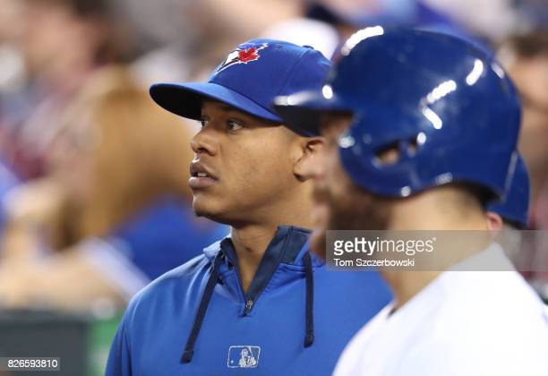 Marcus Stroman of the Toronto Blue Jays and Russell Martin look on during MLB game action against the Los Angeles Angels of Anaheim at Rogers Centre...