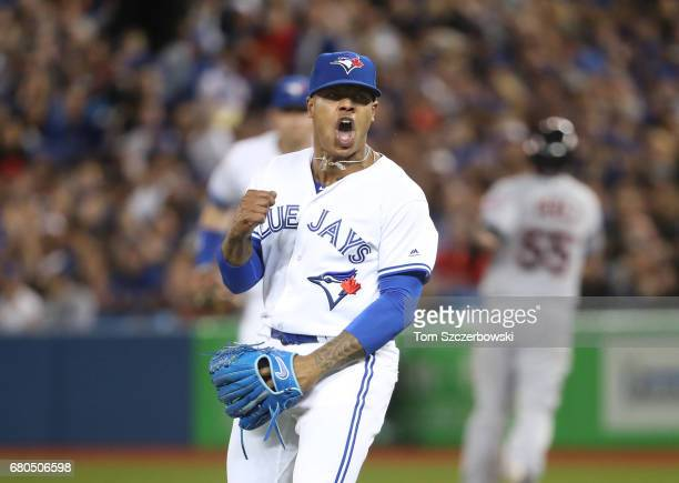 Marcus Stroman of the Toronto Blue Jays celebrates after getting a double play to end the fifth inning during MLB game action against the Cleveland...