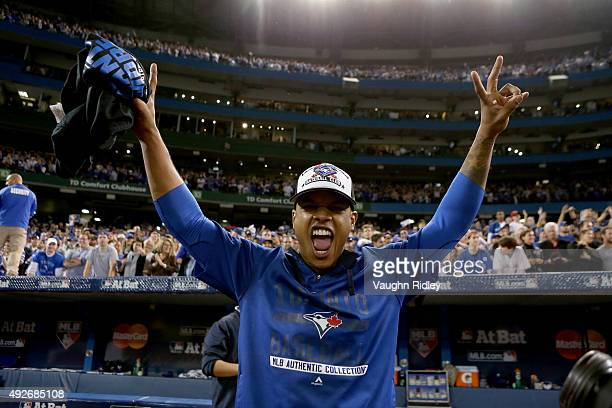 Marcus Stroman of the Toronto Blue Jays celebrates after the Blue Jays defeat the Texas Rangers 63 in game five of the American League Division...