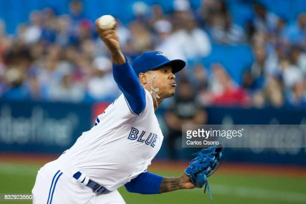 TORONTO ON AUGUST 16 Marcus Stroman of the Toronto Blue Jays delivers a pitch during the 1st inning of MLB action as the Toronto Blue Jays host the...