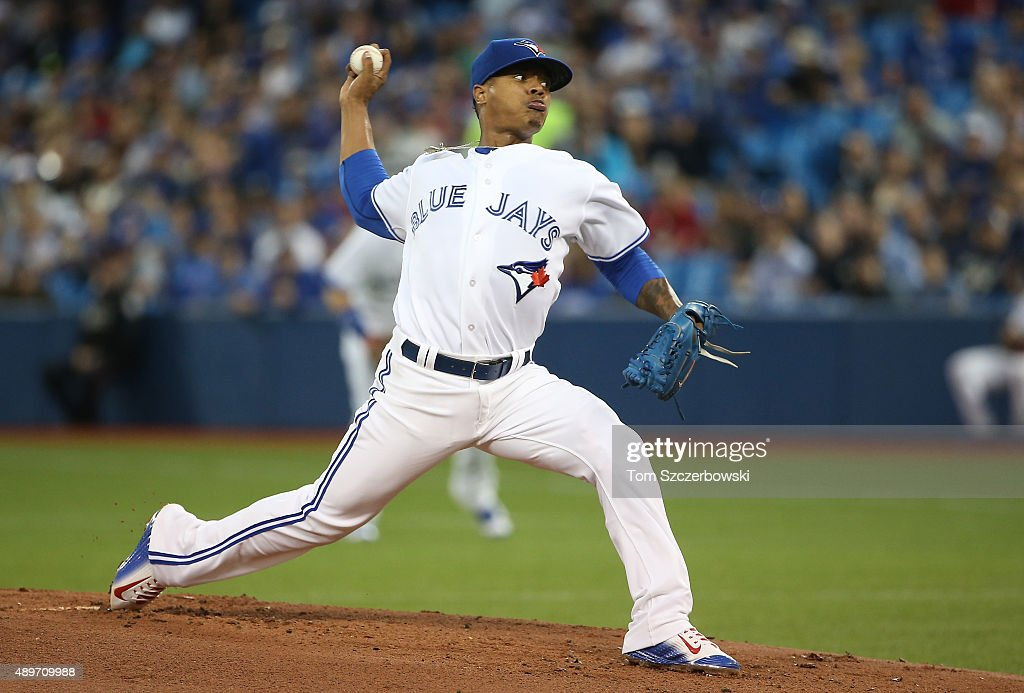 <a gi-track='captionPersonalityLinkClicked' href=/galleries/search?phrase=Marcus+Stroman&family=editorial&specificpeople=7916987 ng-click='$event.stopPropagation()'>Marcus Stroman</a> #6 of the Toronto Blue Jays delivers a pitch in the first inning during MLB game action against the New York Yankees on September 23, 2015 at Rogers Centre in Toronto, Ontario, Canada.
