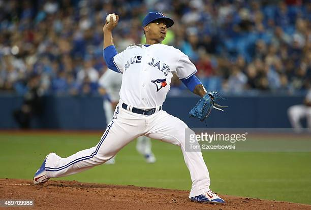 Marcus Stroman of the Toronto Blue Jays delivers a pitch in the first inning during MLB game action against the New York Yankees on September 23 2015...