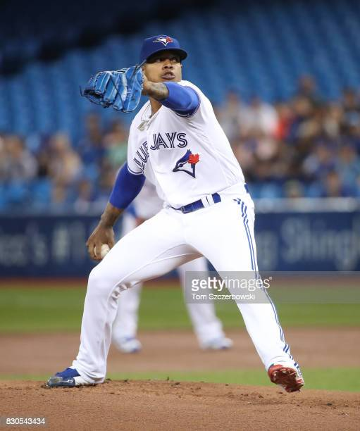 Marcus Stroman of the Toronto Blue Jays delivers a pitch in the first inning during MLB game action against the Pittsburgh Pirates at Rogers Centre...
