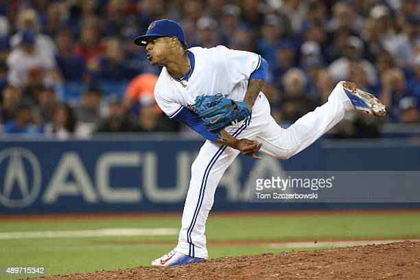 Marcus Stroman of the Toronto Blue Jays delivers a pitch in the seventh inning during MLB game action against the New York Yankees on September 23...