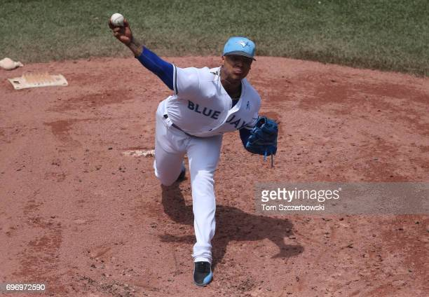 Marcus Stroman of the Toronto Blue Jays delivers a pitch in the third inning during MLB game action against the Chicago White Sox at Rogers Centre on...