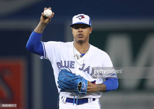 Marcus Stroman of the Toronto Blue Jays during MLB game action against the Kansas City Royals at Rogers Centre on September 19 2017 in Toronto Canada