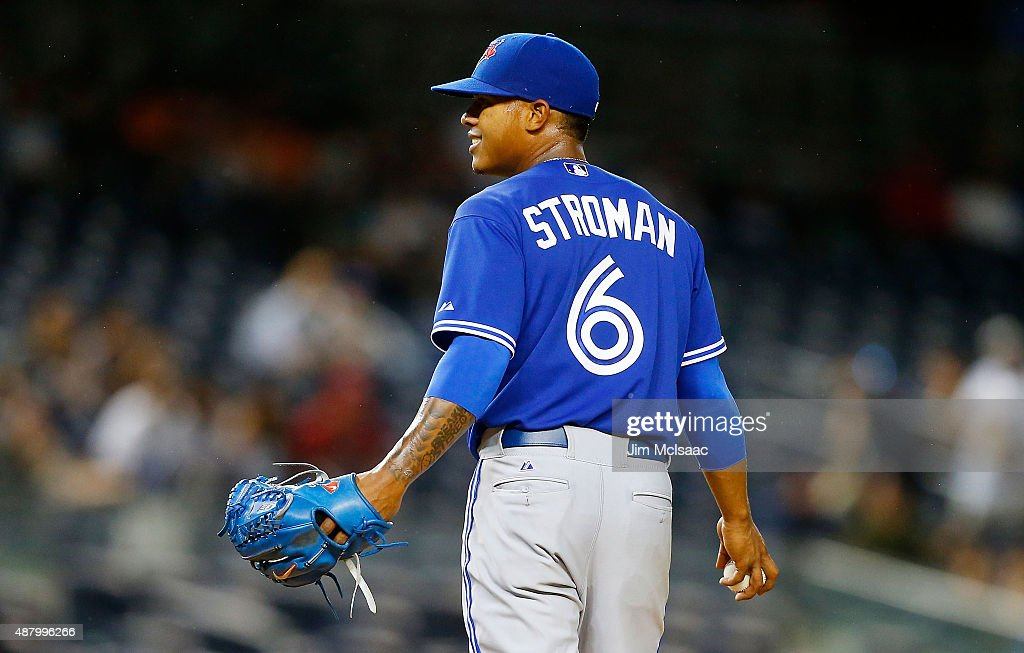 <a gi-track='captionPersonalityLinkClicked' href=/galleries/search?phrase=Marcus+Stroman&family=editorial&specificpeople=7916987 ng-click='$event.stopPropagation()'>Marcus Stroman</a> #6 of the Toronto Blue Jays in action against the New York Yankees at Yankee Stadium on September 12, 2015 in the Bronx borough of New York City. The Jays defeated the Yankees 10-7.