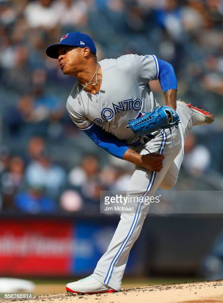 Marcus Stroman of the Toronto Blue Jays in action against the New York Yankees at Yankee Stadium on September 30 2017 in the Bronx borough of New...