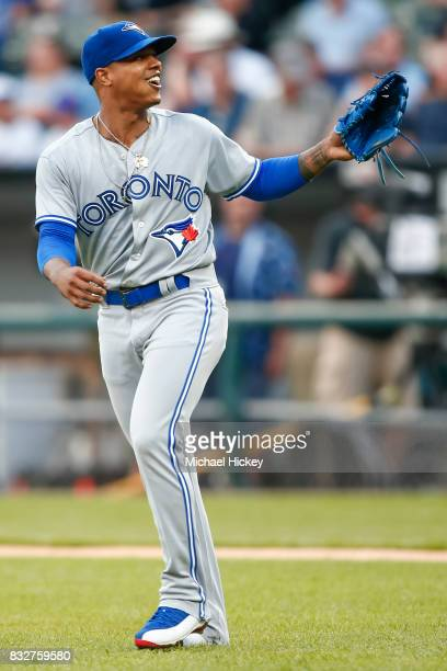 Marcus Stroman of the Toronto Blue Jays is seen during the game against the Chicago White Sox at Guaranteed Rate Field on August 1 2017 in Chicago...