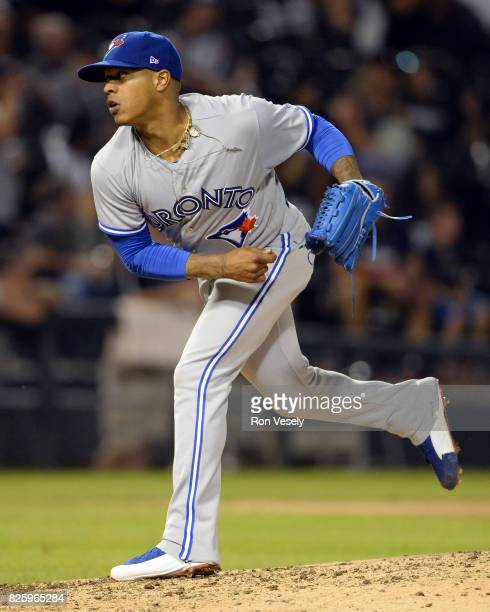 Marcus Stroman of the Toronto Blue Jays pitches against the Chicago White Sox on August 1 2017 at Guaranteed Rate Field in Chicago Illinois