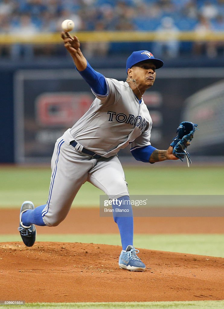 <a gi-track='captionPersonalityLinkClicked' href=/galleries/search?phrase=Marcus+Stroman&family=editorial&specificpeople=7916987 ng-click='$event.stopPropagation()'>Marcus Stroman</a> #6 of the Toronto Blue Jays pitches during the first inning of a game against the Tampa Bay Rays on May 1, 2016 at Tropicana Field in St. Petersburg, Florida.