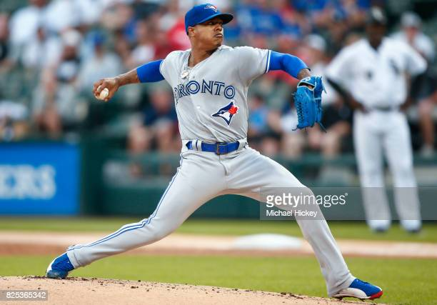 Marcus Stroman of the Toronto Blue Jays pitches during the first inning against the Chicago White Sox at Guaranteed Rate Field on August 1 2017 in...