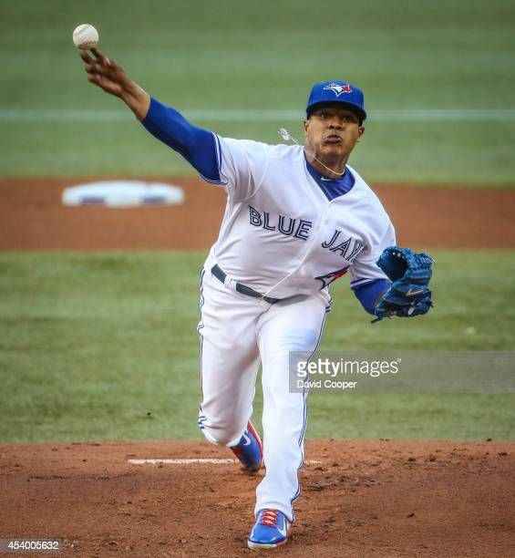 TORONTO ON AUGUST 22 Marcus Stroman of the Toronto Blue Jays pitches during the game between the Toronto Blue Jays and the Tampa Bay Rays at the...