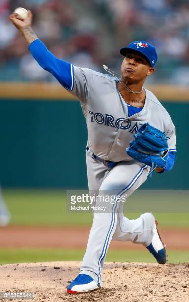 Marcus Stroman of the Toronto Blue Jays pitches during the second inning against the Chicago White Sox at Guaranteed Rate Field on August 1 2017 in...
