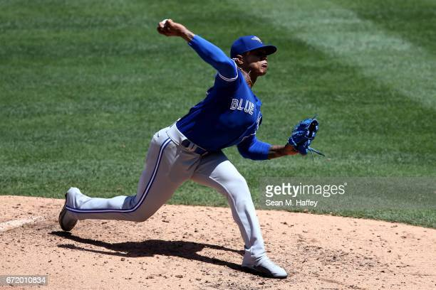 Marcus Stroman of the Toronto Blue Jays pitches during the sixth inning of a game against the Los Angeles Angels of Anaheim at Angel Stadium of...