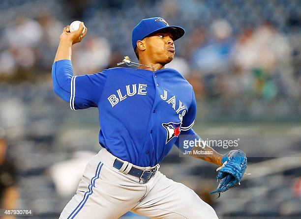 Marcus Stroman of the Toronto Blue Jays pitches in the first inning against the New York Yankees at Yankee Stadium on September 12 2015 in the Bronx...