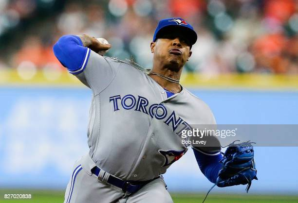 Marcus Stroman of the Toronto Blue Jays pitches in the first inning against the Houston Astros at Minute Maid Park on August 6 2017 in Houston Texas