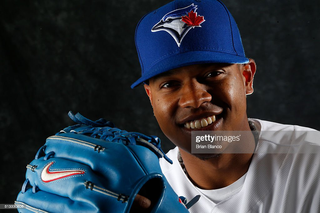 <a gi-track='captionPersonalityLinkClicked' href=/galleries/search?phrase=Marcus+Stroman&family=editorial&specificpeople=7916987 ng-click='$event.stopPropagation()'>Marcus Stroman</a> #6 of the Toronto Blue Jays poses for a photo during the Blue Jays' photo day on February 27, 2016 in Dunedin, Florida.
