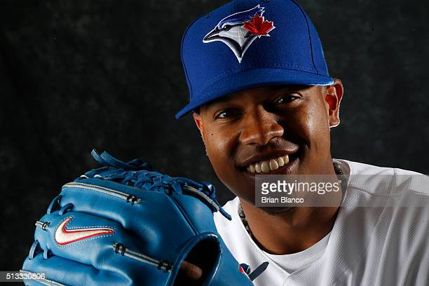 Marcus Stroman of the Toronto Blue Jays poses for a photo during the Blue Jays' photo day on February 27 2016 in Dunedin Florida