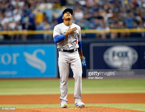 Marcus Stroman of the Toronto Blue Jays prepares himself on the mound before throwing his first pitch against the Tampa Bay Rays during the first...