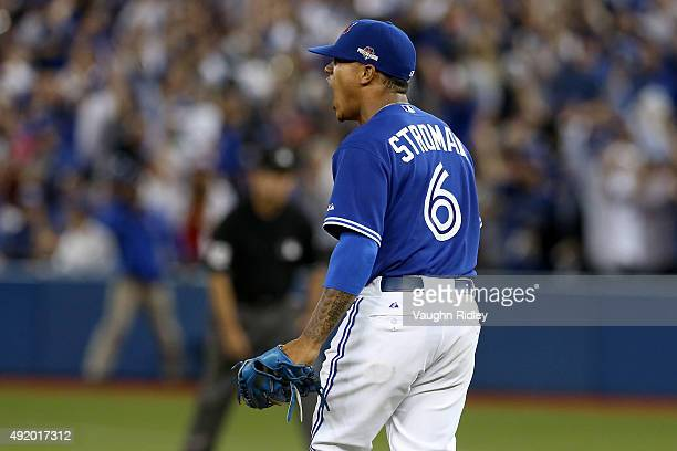 Marcus Stroman of the Toronto Blue Jays reacts after a play to end the fifth inning against the Texas Rangers during game two of the American League...