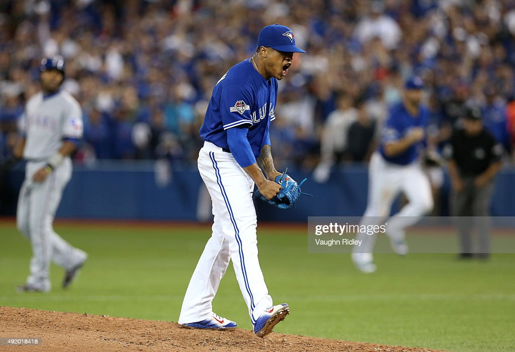 <a gi-track='captionPersonalityLinkClicked' href=/galleries/search?phrase=Marcus+Stroman&family=editorial&specificpeople=7916987 ng-click='$event.stopPropagation()'>Marcus Stroman</a> #6 of the Toronto Blue Jays reacts after a strikeout to end the top of the sixth inning against the Texas Rangers during game two of the American League Division Series at Rogers Centre on October 9, 2015 in Toronto, Canada.