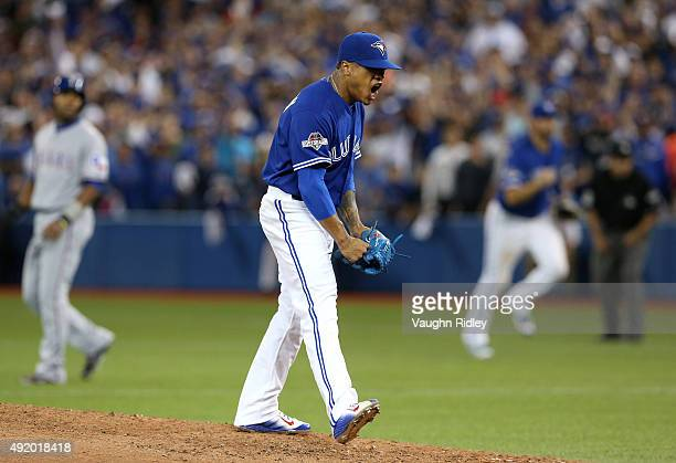 Marcus Stroman of the Toronto Blue Jays reacts after a strikeout to end the top of the sixth inning against the Texas Rangers during game two of the...