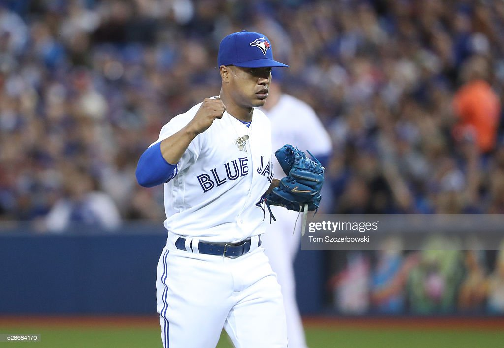 <a gi-track='captionPersonalityLinkClicked' href=/galleries/search?phrase=Marcus+Stroman&family=editorial&specificpeople=7916987 ng-click='$event.stopPropagation()'>Marcus Stroman</a> #6 of the Toronto Blue Jays reacts after getting the last out of the third inning during MLB game action against the Los Angeles Dodgers on May 6, 2016 at Rogers Centre in Toronto, Ontario, Canada.