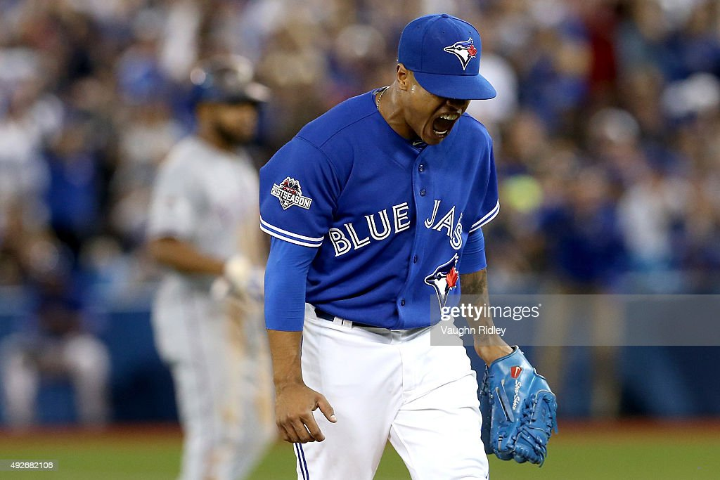 <a gi-track='captionPersonalityLinkClicked' href=/galleries/search?phrase=Marcus+Stroman&family=editorial&specificpeople=7916987 ng-click='$event.stopPropagation()'>Marcus Stroman</a> #6 of the Toronto Blue Jays reacts after striking out Prince Fielder #84 of the Texas Rangers to end the 5th inning in game five of the American League Division Series at Rogers Centre on October 14, 2015 in Toronto, Canada.