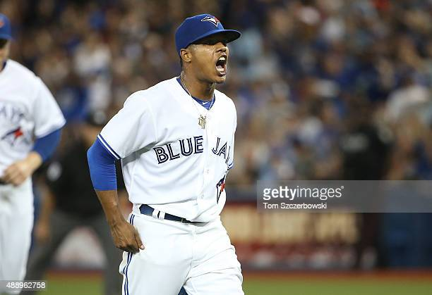 Marcus Stroman of the Toronto Blue Jays reacts after the last out of the third inning on a stolen base attempt at second base during MLB game action...
