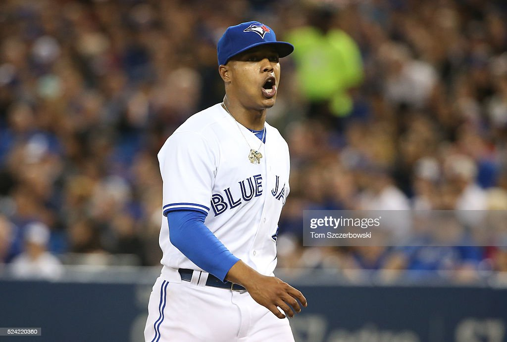 <a gi-track='captionPersonalityLinkClicked' href=/galleries/search?phrase=Marcus+Stroman&family=editorial&specificpeople=7916987 ng-click='$event.stopPropagation()'>Marcus Stroman</a> #6 of the Toronto Blue Jays reacts after walking off the mound at the end of the first inning during MLB game action against the Chicago White Sox on April 25, 2016 at Rogers Centre in Toronto, Ontario, Canada.