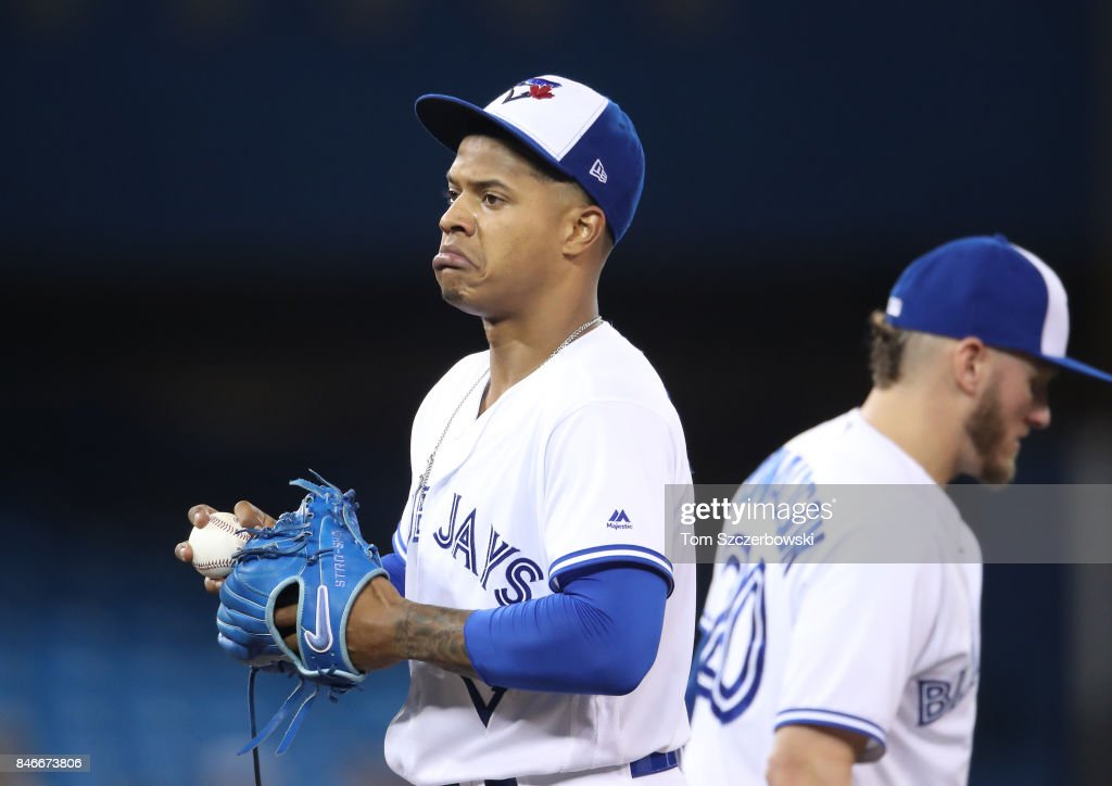 Marcus Stroman #6 of the Toronto Blue Jays reacts as Josh Donaldson #20 looks on in the fourth inning during MLB game action against the Baltimore Orioles at Rogers Centre on September 13, 2017 in Toronto, Canada.