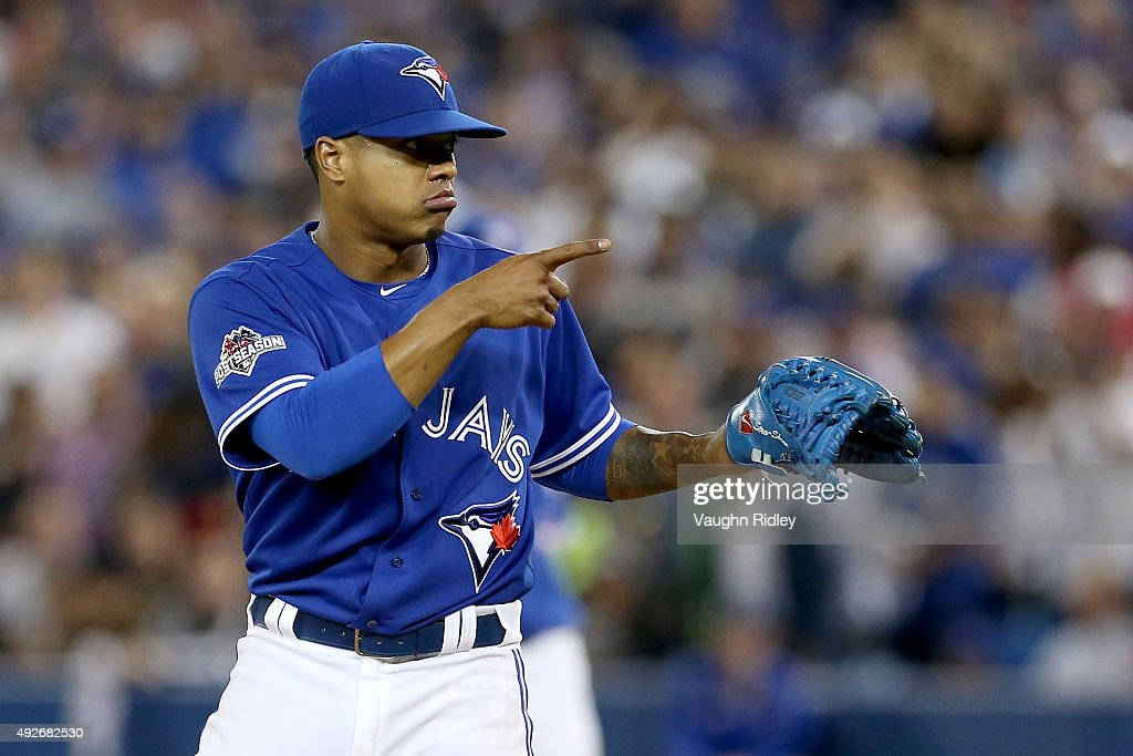 <a gi-track='captionPersonalityLinkClicked' href=/galleries/search?phrase=Marcus+Stroman&family=editorial&specificpeople=7916987 ng-click='$event.stopPropagation()'>Marcus Stroman</a> #6 of the Toronto Blue Jays reacts in the sixth inning while taking on the Texas Rangers in game five of the American League Division Series at Rogers Centre on October 14, 2015 in Toronto, Canada.