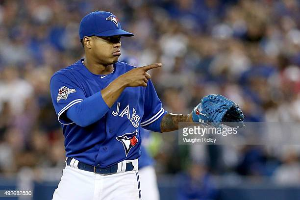 Marcus Stroman of the Toronto Blue Jays reacts in the sixth inning while taking on the Texas Rangers in game five of the American League Division...