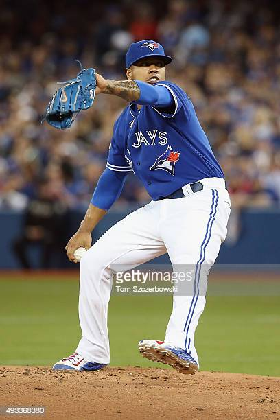 Marcus Stroman of the Toronto Blue Jays throws a pitch in the first inning against the Kansas City Royals during game three of the American League...