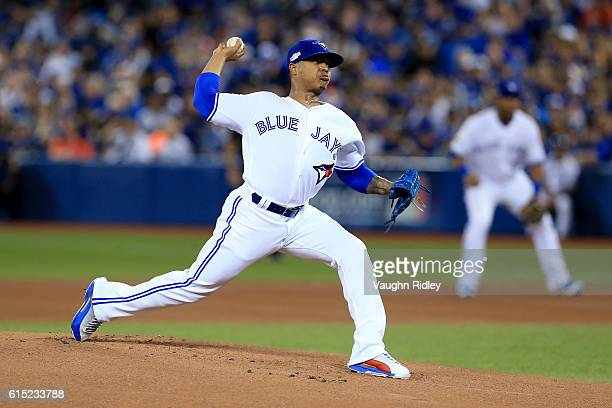 Marcus Stroman of the Toronto Blue Jays throws a pitch in the first inning against the Cleveland Indians during game three of the American League...