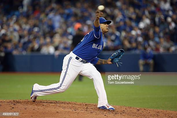 Marcus Stroman of the Toronto Blue Jays throws a pitch in the fourth inning against the Kansas City Royals during game three of the American League...