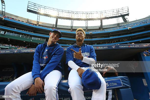 TORONTO ON SEPTEMBER 4 Marcus Stroman right is reunited with Aaron Sanchez before the game as the Toronto Blue Jays play the Baltimore Orioles at the...