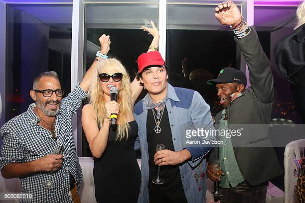 Marcus Suarez Pamela Anderson and David LaChapelle attend New Years Eve 2015 hosted by Pamela Anderson at FIFTY Ultra Lounge at Viceroy Hotel Spa on...