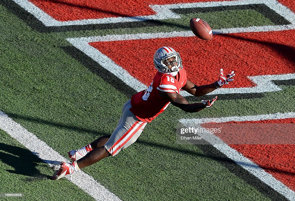 Marcus Sullivan of the UNLV Rebels misses a catch in the end zone during the fourth quarter of a game against the San Jose State Spartans at Sam Boyd...