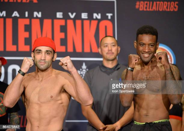 Marcus Surin and Ryan Quinn pose for photos at the weighin Ryan Quinn will be challenging Marcus Surin in a Lightweight bout on October 19 2017 at...
