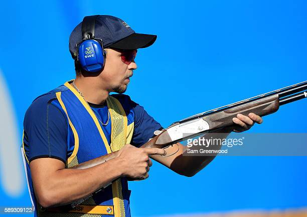 Marcus Svennsson of Sweden competes in the skeet semifinal match on Day 8 of the Rio 2016 Olympic Games at the Olympic Shooting Centre on August 13...