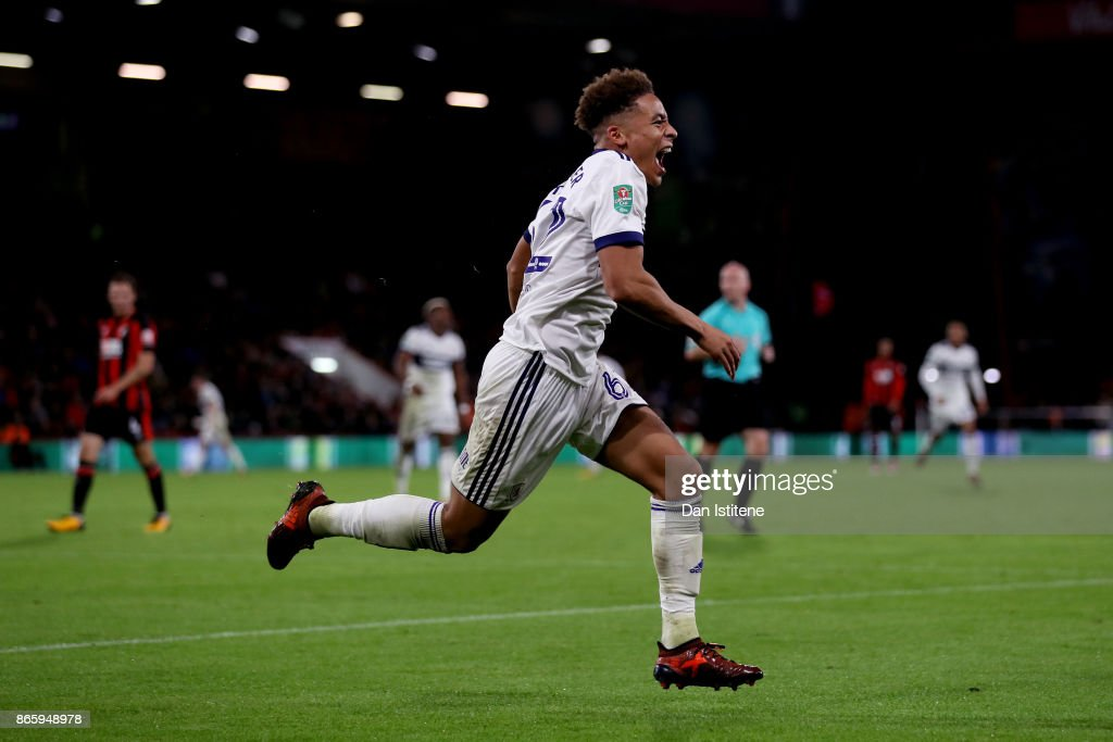 Marcus Tavernier of Middlesbrough celebrates scoring his sides first goal during the Carabao Cup Fourth Round match between AFC Bournemouth and Middlesbrough at Vitality Stadium on October 24, 2017 in Bournemouth, England.