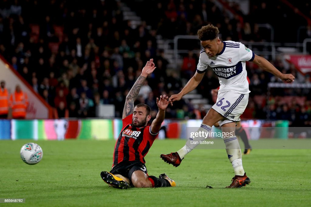 Marcus Tavernier of Middlesbrough scores his sides first goal during the Carabao Cup Fourth Round match between AFC Bournemouth and Middlesbrough at Vitality Stadium on October 24, 2017 in Bournemouth, England.