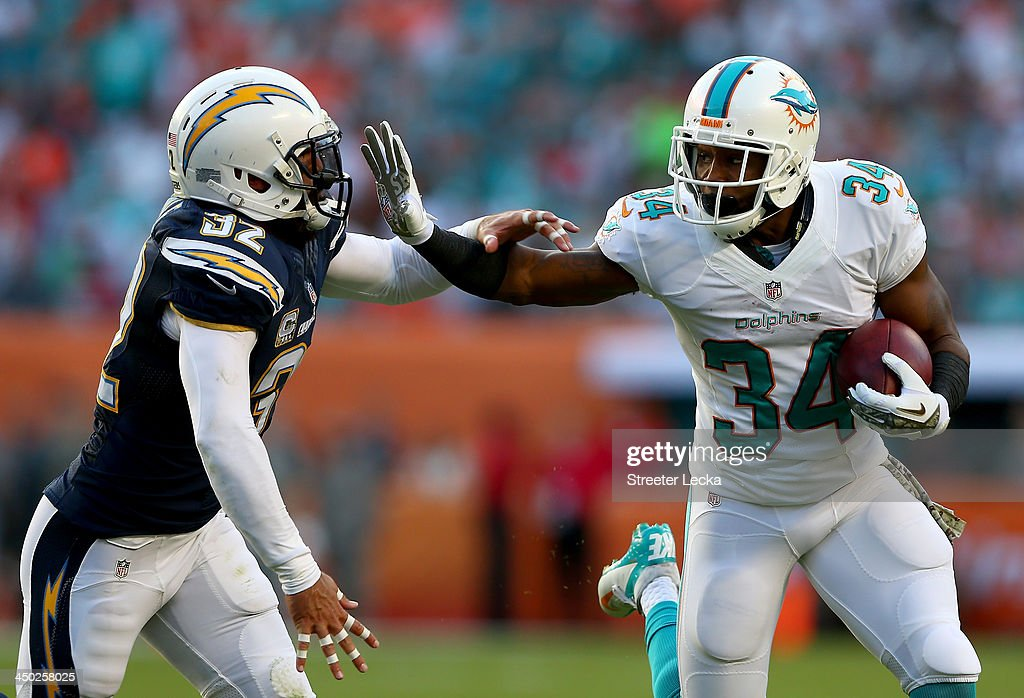 <a gi-track='captionPersonalityLinkClicked' href=/galleries/search?phrase=Marcus+Thigpen&family=editorial&specificpeople=4018300 ng-click='$event.stopPropagation()'>Marcus Thigpen</a> #34 of the Miami Dolphins tries to block <a gi-track='captionPersonalityLinkClicked' href=/galleries/search?phrase=Eric+Weddle&family=editorial&specificpeople=2630547 ng-click='$event.stopPropagation()'>Eric Weddle</a> #32 of the San Diego Chargers during their game at Sun Life Stadium on November 17, 2013 in Miami Gardens, Florida.
