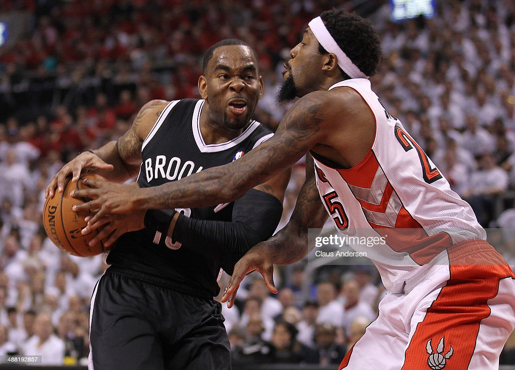 Marcus Thornton of the Brooklyn Nets plays against John Salmons of the Toronto Raptors in Game Seven of the NBA Eastern Conference Quarterfinals at...