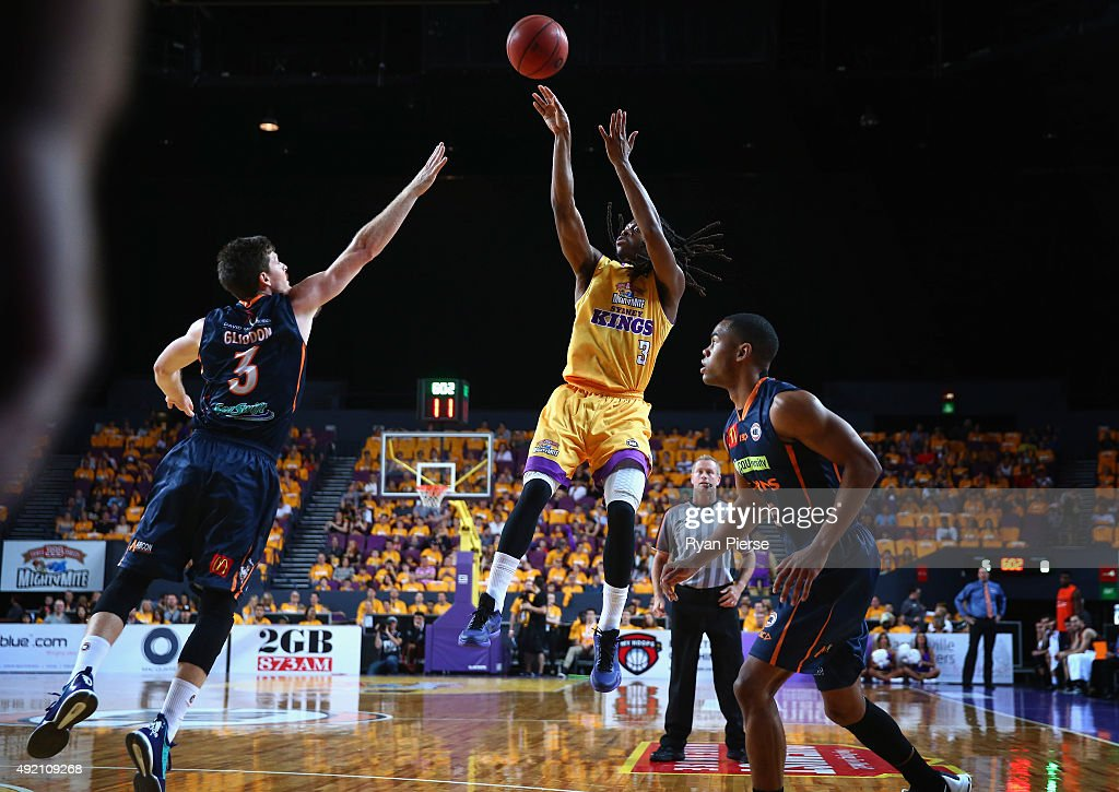 Marcus Thornton of the Kings shoots during the round one NBL match between the Sydney Kings and the Cairns Taipans at Qantas Credit Union Arena on October 10, 2015 in Sydney, Australia.