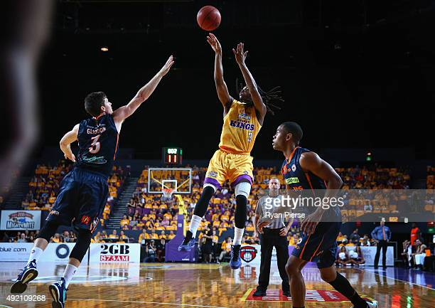 Marcus Thornton of the Kings shoots during the round one NBL match between the Sydney Kings and the Cairns Taipans at Qantas Credit Union Arena on...