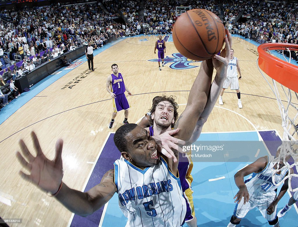 Marcus Thornton #5 of the New Orleans Hornets and Pau Gasol #16 of the Los Angeles Lakers battle for a rebound on March 29, 2010 at the New Orleans Arena in New Orleans, Louisiana.