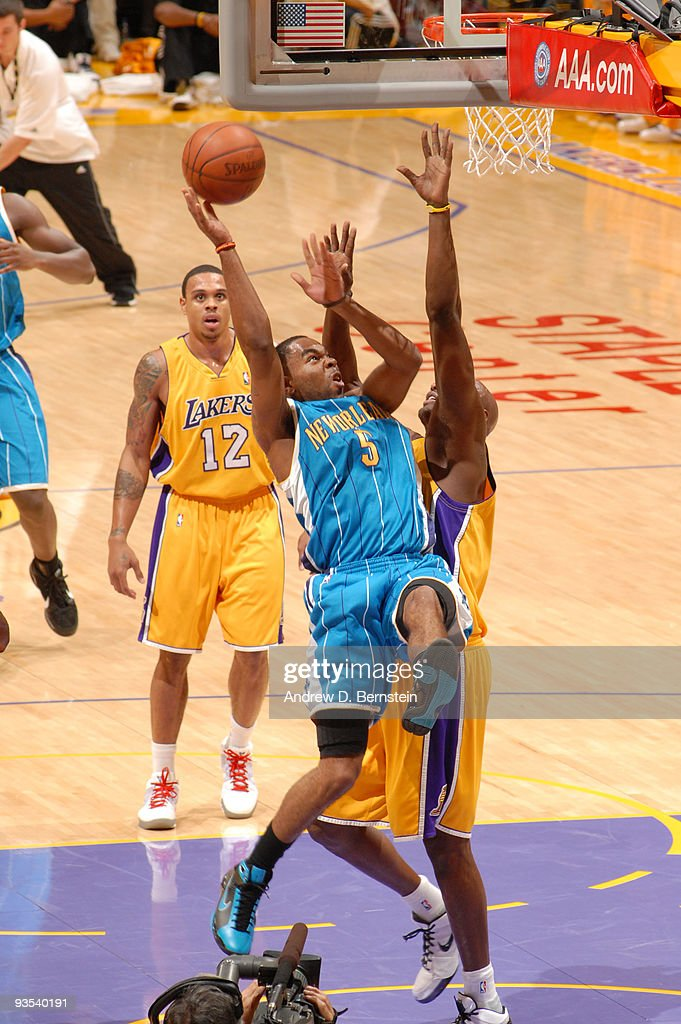 Marcus Thornton #5 of the New Orleans Hornets attempts a shot against the Los Angeles Lakers at Staples Center on December 1, 2009 in Los Angeles, California.